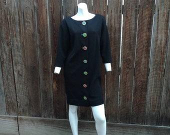 Vintage 90's Adrienne Vittadini Petite Sweater Dress Tunic Black Wool Jewels M L