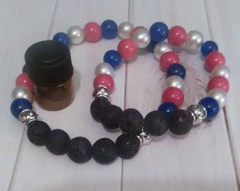 Patriotic / Red white &Blue / Forth of July Eseential Oil Diffuser Bracelet