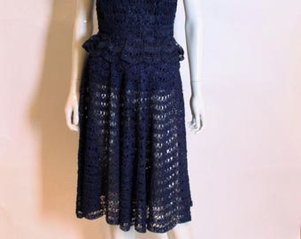 A vintage 1950s blue raffia two piece a strapless top bustier and skirt S Small
