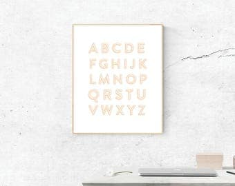 Peach Alphabet Print, Digital Print, Alphabet Art, Alphabet Art, Digital Download,  Wall Art, Wall Prints, Printable Art, ABC's Poster