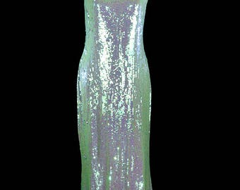 Norman Norell dress, sequin gown, heavily beaded couture maxi, blue green, red carpet train, shoulder straps, sleeveless, floor length long