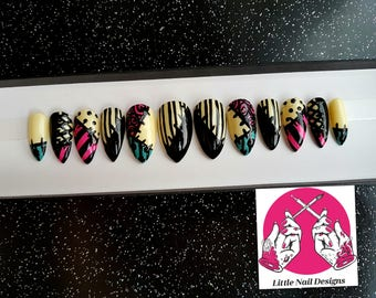 Sally Nightmare Before Christmas Hand Painted Halloween False Nails | Little Nail Designs