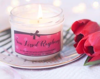 Raspberry candle, fruity candle, spring candle, scented candle, Soy Wax candle, candle for spring, Vegan candle, raspberry scented