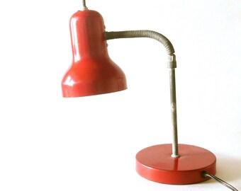 Vintage Red Mid Century Gooseneck Desk Lamp