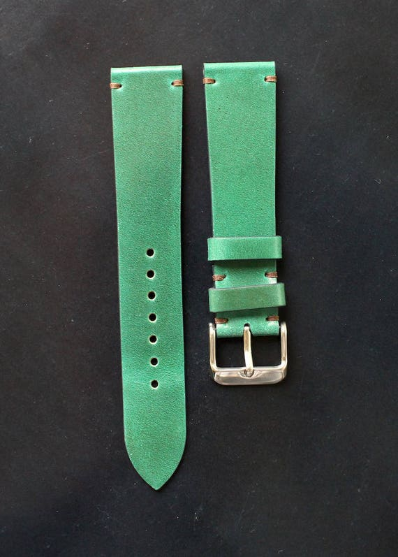 20/18mm Green Tuscany Shell Cordovan watch band - simple stitching