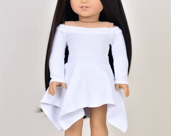 UnEven Skirt  18 inch doll clothes color White