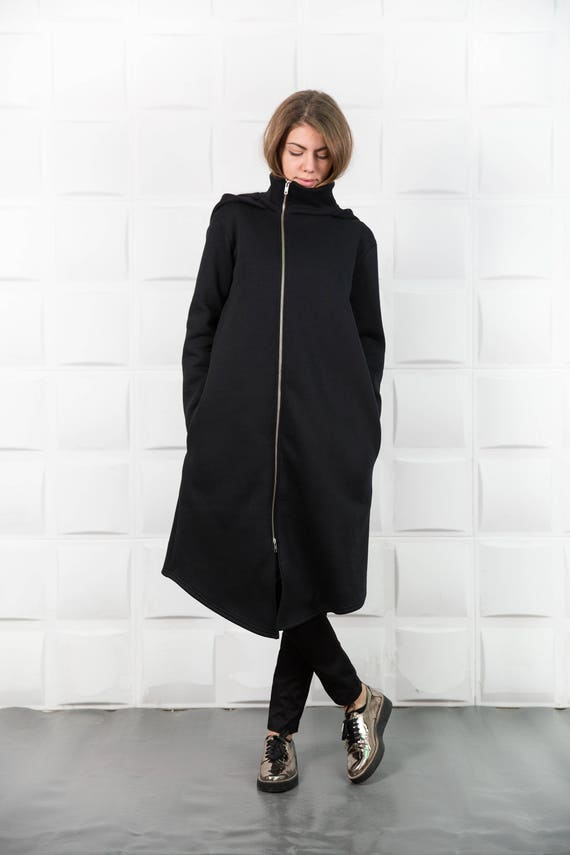 Black hooded coat Asymmetrical coatBlack long coat