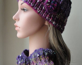 hat and cowl, purple multi cowl, sequin hat, hat with flower, knitted cowl and hat, OOAK hat and cowl, sparkle accessories, artisan wool hat