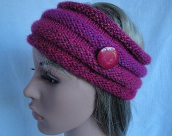 cerise pink headwarmer, woman's earwarmer, fuchsia mix headband, vegan earwarmer, knitted hairband, acrylic headwarmer, button trim headband