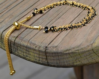 Black Spinel and Gold Adjustable Bracelet (BR5)