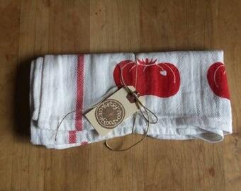 Red Tomato Tea Towel - linocut block print - hand-printed kitchen towel