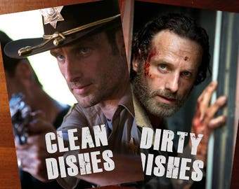 "Walking Dead Reversible Magnetic Dishwasher Sign | Geek Kitchen | Clean Dirty Magnet | ""Clean"" ""Dirty"" Rick Grimes 