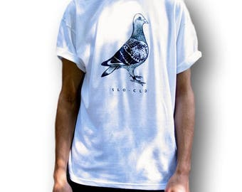 Pigeon T-Shirt, Men's Indie Clothing, Women's Indie Top, Indie Shirt, Grunge Tee, Gift For Him, Gift Idea, Men's Graphic Shirt, Bird Gift