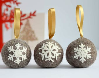 Felted snowflake applique Christmas ball ornaments - set of three handmade Scandinavian style natural brown wool tree baubles decorations