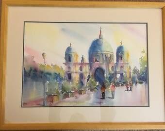 Cathedral in Berlin, Germany Watercolor Painting