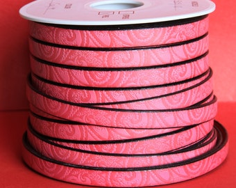 """MADE in EUROPE 24"""" flat leather cord, embossed 10mm fucsia leather cord, engraved leather cord (503/10/11)"""
