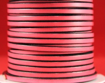 MADE in EUROPE 1 yard of 5mm flat leather cord, genuine leather 5mm strip, pink flat leather cord (221/05/11)