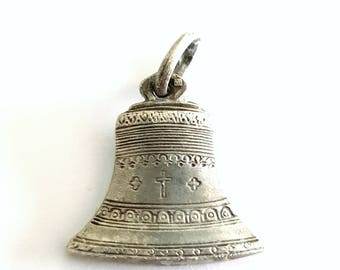 vintage silver plated bell medal