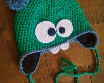 2 years - Monster Hat lined with fleece, crochet