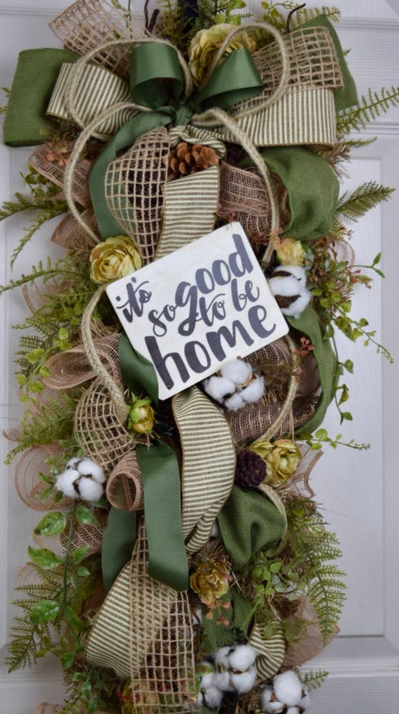 It's so Good to be Home Beige and Green Teardrop Swag with Cotton Pods Flowers and Foliage; Welcome Wreath Door Decor; Classic Door Decor
