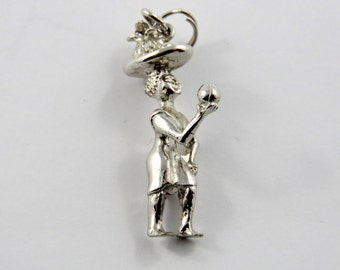 Woman with Basket on Head Offering a Cut Coconut Sterling Silver Charm or Pendant.