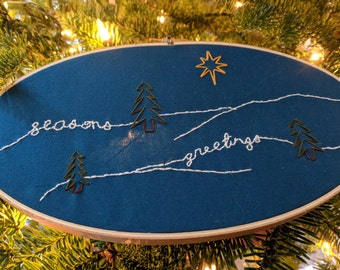"Oval ""Seasons Greetings"" Christmas Embroidery"
