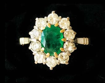 Stunning 18ct, 18k, 750 Gold Emerald & Diamond 2.00ct Cluster Ring, By Maker M J