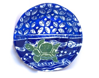 Sea Turtle Trinket Dish, ceramic ring dish tea bag holder tea bag dish trinket bowl trinket tray blue tropical nautical stoneware pottery