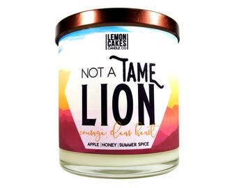 Not a Tame Lion - Bookish Candle - LemonCakes Candle - Co 10oz Wood or Double Wick Soy Candle - Honey, Red Apples, & Spices