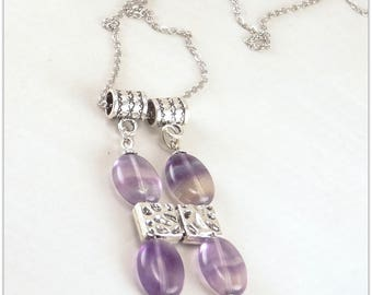 Pendant Necklace with oval fluorite, pastel gemstone - jewelry 123Pierres