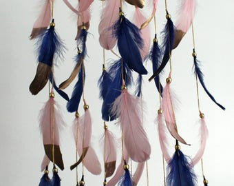 Navy Blue Rose Gold Baby Mobile, Dream catcher Mobile, Boho Feather Mobile, Nursery Mobile, Native American Style, Attrape reve