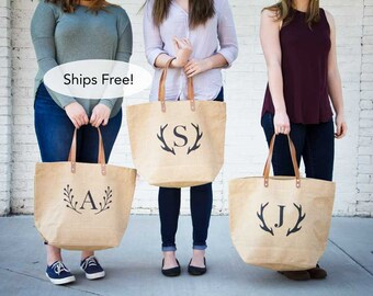 Set of Personalized Bridesmaid Tote Bags | Monogrammed Bridesmaid Gift | Rustic Burlap Tote Bags | Wedding Bridal Party Totes | Set of 8