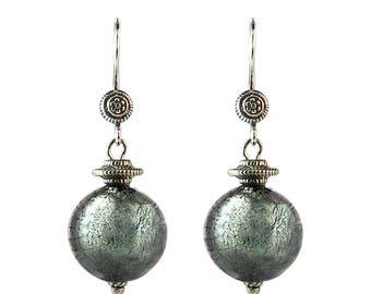 Murano Glass Bali Design Earrings  'Slate' by Mystery of Venice, Murano Glass Earrings, Glass Earrings, Ethnic Earrings, Bijoux Ethniques
