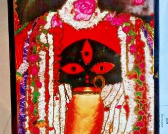 hindu goddess kali laminated pictureplaque on stand from kalighat