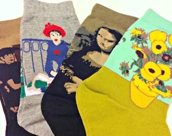 Art Socks Set,Van Gogh, Mona LIsa, Renoir, Chagall!  Gift for Women,Crew Socks,Artist Set of 4, Birthday Gift