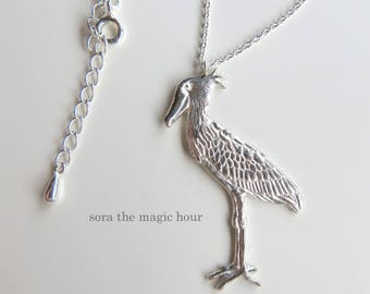 Shoebill necklace, Bird necklace, silver necklace, long necklace, shoebill pendant