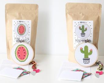 Watermelon + Cactus Mini Cross Stitch Kit COMBO / 2 MINI kits / Learn to Stitch / Beginner Cross Stitch Kit / Christmas Gift / Embroidery