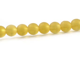 Recycled Cultured Sea Glass Round Beads Pale Topaz Yellow 6mm