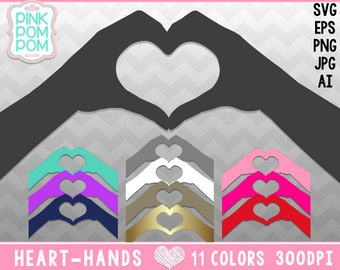 Heart Hands Clipart Set – Love Hands Silhouettes - Heart shaped hands - Personal and Commercial use – Instant Download SVG png jpg ai eps