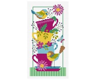 Little Birds and Teacups - Durene J Cross Stitch Pattern - DJXS2222