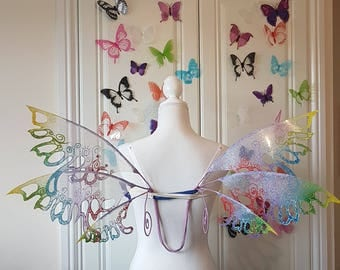 Lace Fairy Wings with Rainbow Tips and Curls