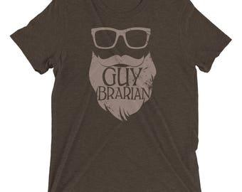 Guybrarian Librarian Beard Short Sleeve Premium Triblend T-shirt | Gift for Librarian | Beards make it better | Library Humor