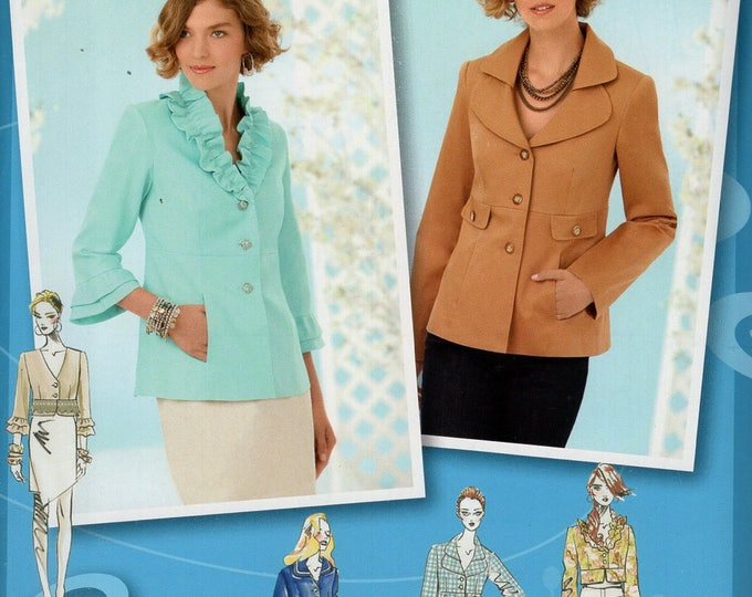 FREE US SHIP Simplicity 2256 Project RunwayJacket Collar Variations Size 4/12  4 6 8 10 12 Bust 29 30 31 32 34  Sewing Pattern