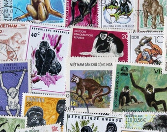 FREE SHIPPING ; 25 Colorful Vintage Worldwide Monkey postage stamps for collecting, crafting, scrapbook pages, collages etc.