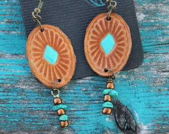 Leather Concho and Turquoise Earrings, Southwestern, Western, Boho Handmade Leather Earrings