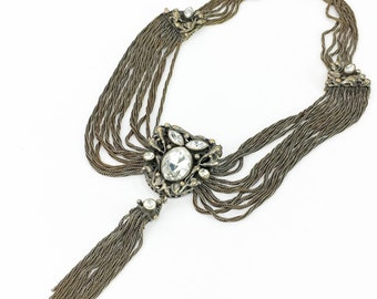 40s Intricate Pendant & Chain Necklace | Chain and Tassel Pendant Necklace
