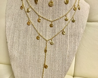 Gold Coin Dangle Necklace