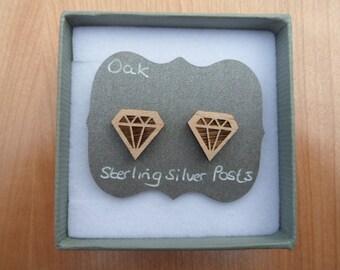 Oak Gem Shape Stud Earrings, with Sterling Silver Backs.