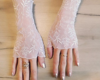 Bridal Fingerless Gloves\Lace gloves\ Fingerless Lace Gloves\White gloves\ Bridal gloves White\Fingerless gloves