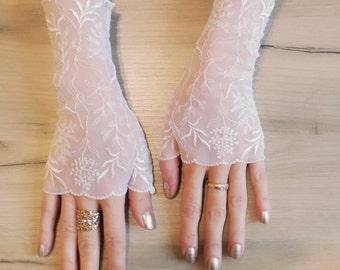 Bridal Fingerless Gloves\Lace gloves\ Fingerless Lace Gloves\White gloves\ Bridal gloves White\Fingerless gloves